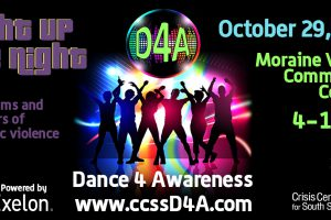 Dance for Awareness promotional flyer with group of people dancing with neon lights behind them